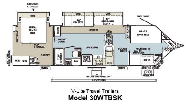 Floorplan - 2013 Forest River RV Flagstaff V-Lite 30WTBSK