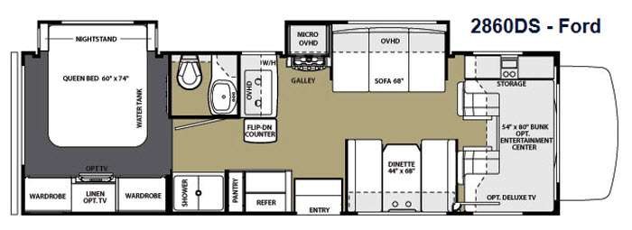Floorplan - 2014 Forest River RV Sunseeker 2860DS Ford