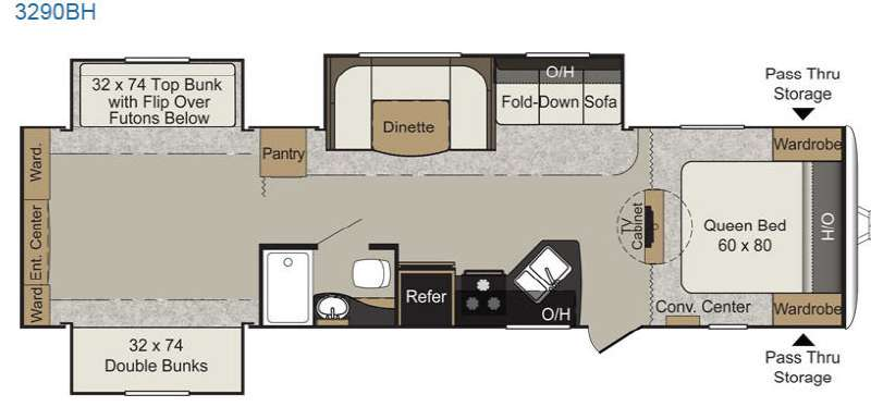 Floorplan - 2015 Keystone RV Passport 3290BH Grand Touring