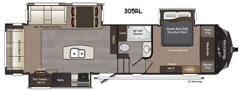 Floorplan - 2015 Keystone RV Montana High Country 305RL