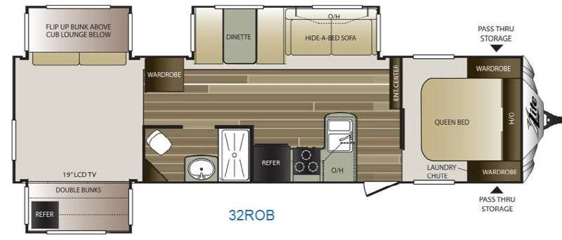 Floorplan - 2015 Keystone RV Cougar X-Lite 32ROB
