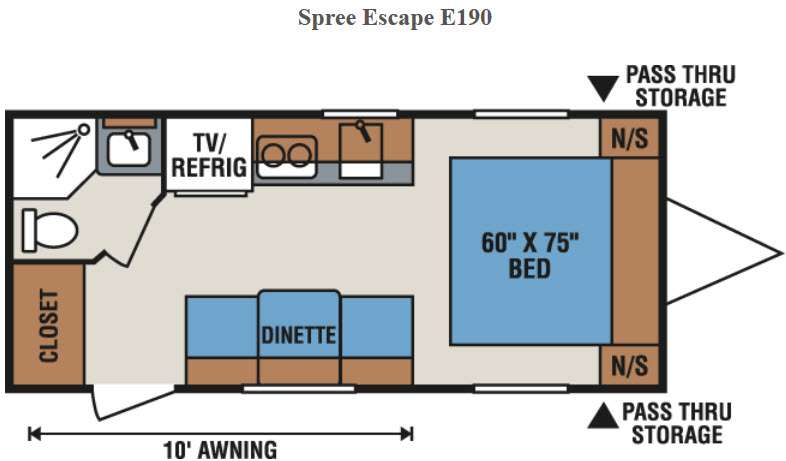 Floorplan - 2016 KZ Spree Escape E190