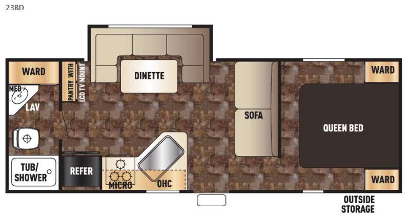 Floorplan - 2016 Forest River RV Cherokee Grey Wolf 23BD