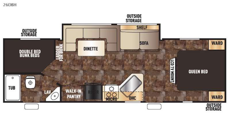 Floorplan - 2016 Forest River RV Cherokee Grey Wolf 26DBH