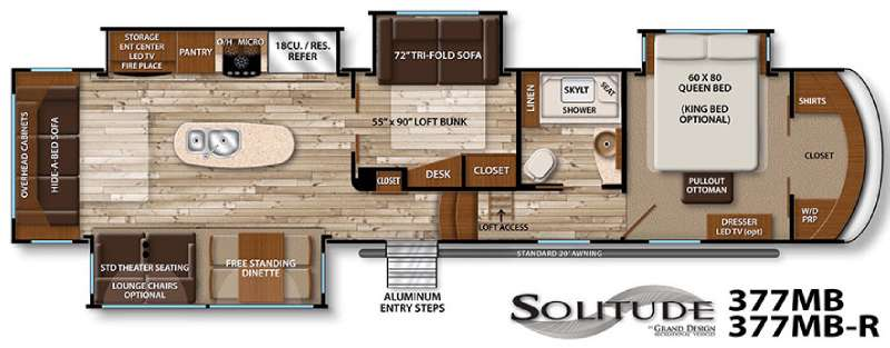 Floorplan - 2016 Grand Design Solitude 377MB R