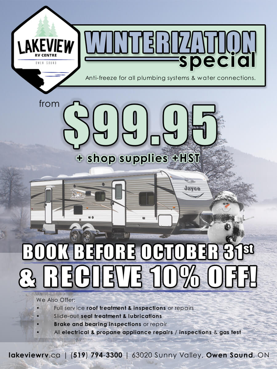 Winterization Special - From $99.95 + shop supplied + HST