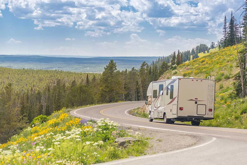 Class C Motorhome driving on a road
