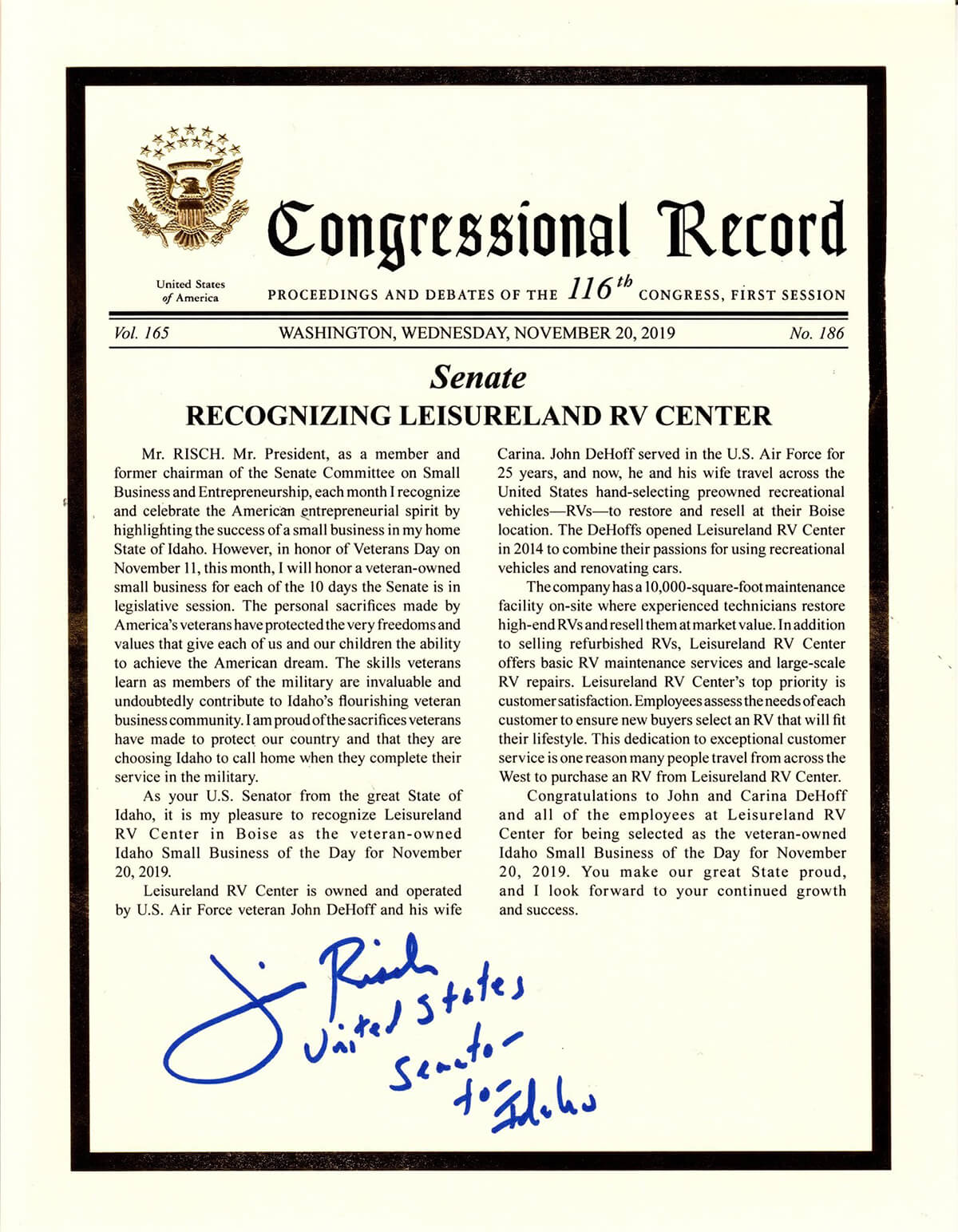 Congressional award from the United States senetor for Idaho