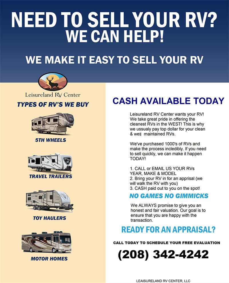 Need to sell your RV? We can help!