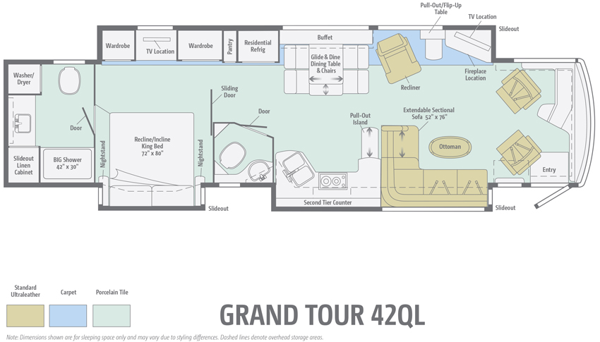 Winnebago Grand Tour 42QL Floorplan