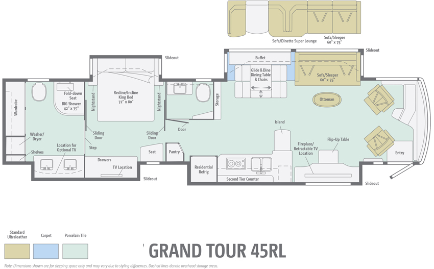 Winnebago Grand Tour 45RL Floorplan