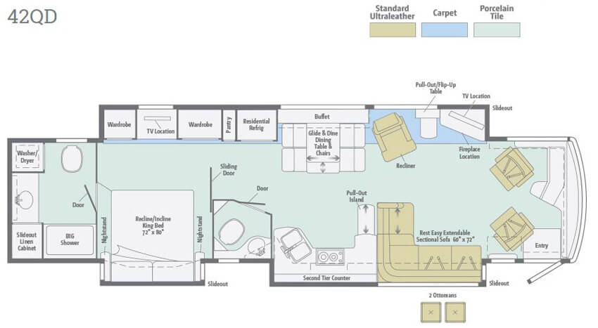 Winnebago Tour 42QD Floorplan