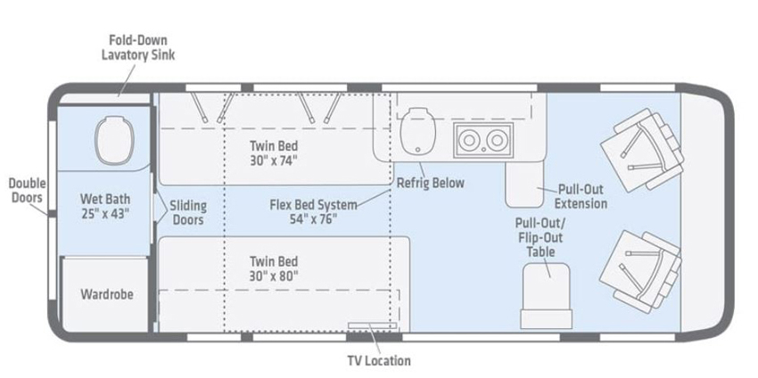 Winnebago Travato 59KL Floorplan