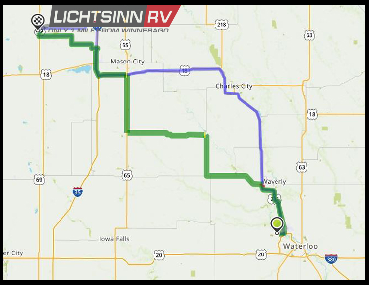 Map to Lichtsinn RV from Cedar Falls, Iowa