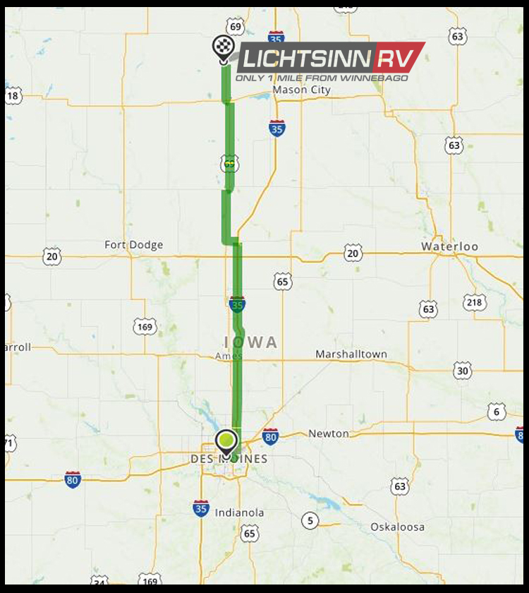 Map to Lichtsinn RV from Des Moines, Iowa