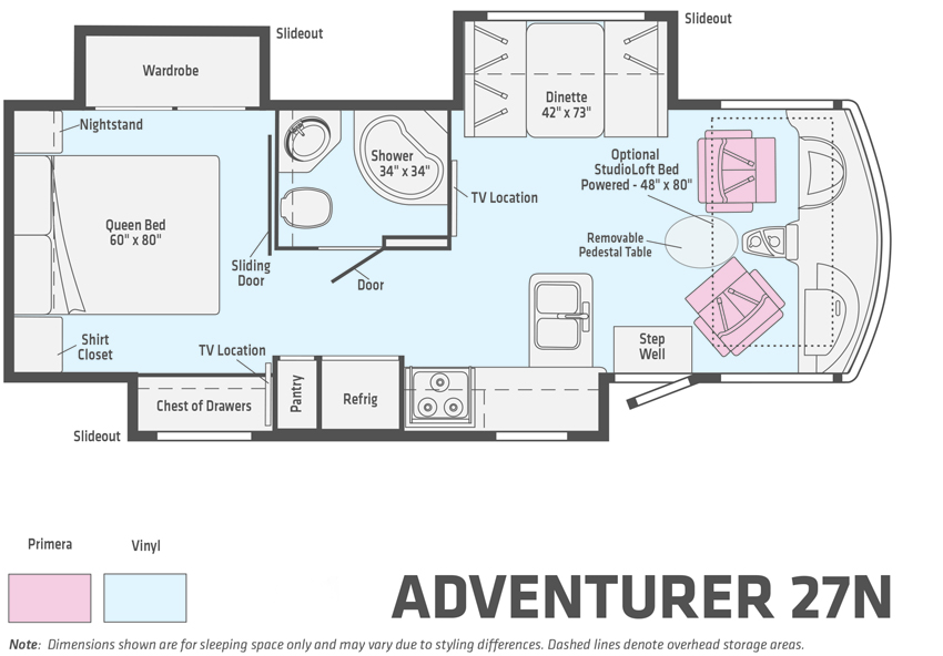 Winnebago Adventurer 27N Floorplan