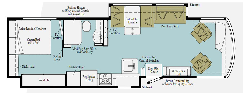 Winnebago Forza 34T Accessibility Equipped Floorplan