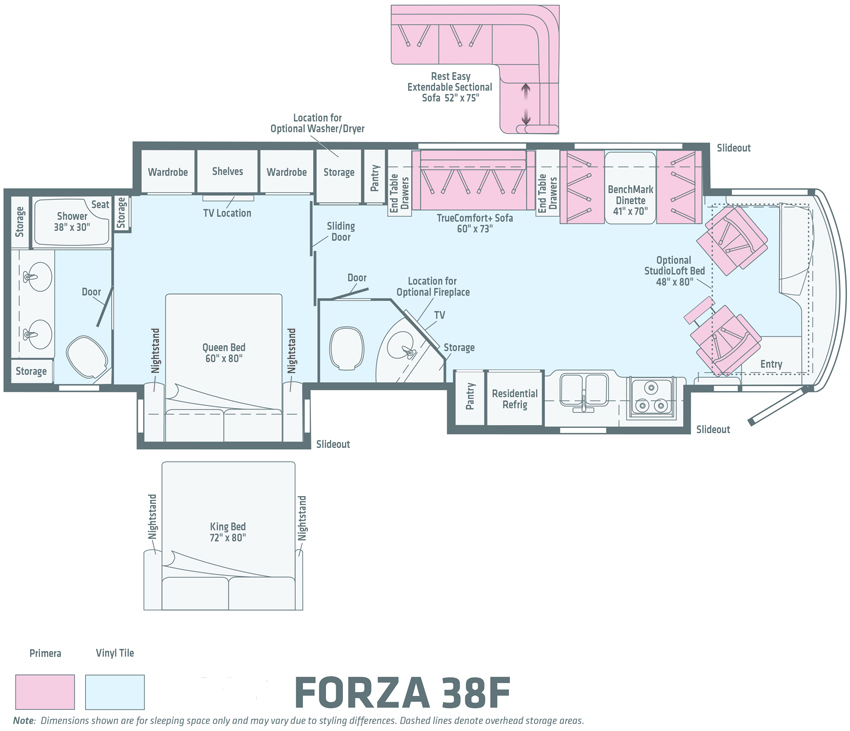 Winnebago Forza 38F Floorplan