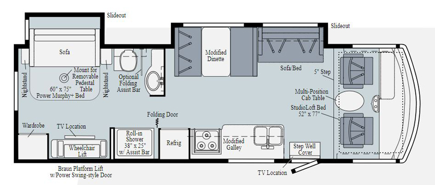 Winnebago Intent 30R Accessibility Equipped Floorplan