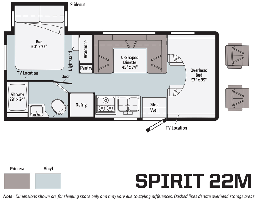 Winnebago Spirit 22M Floorplan