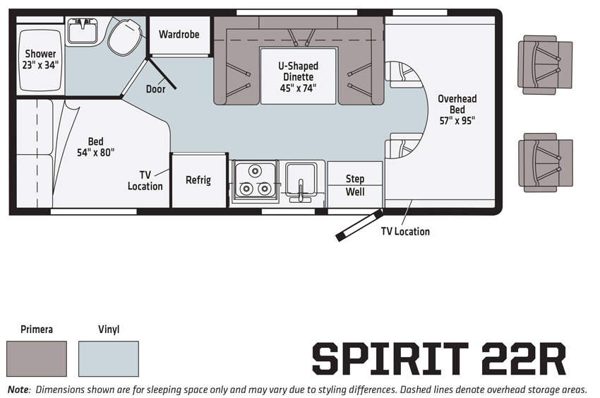 Winnebago Spirit 22R Floorplan