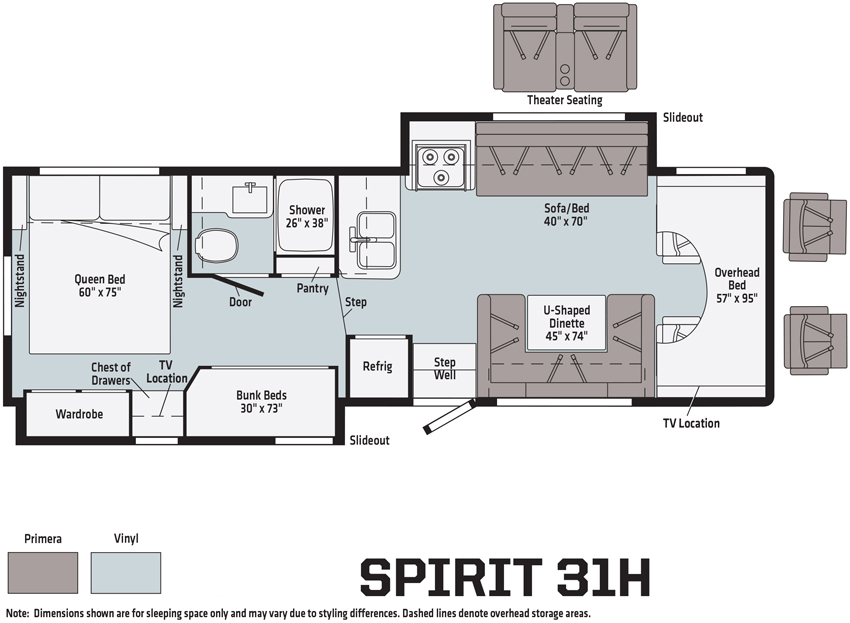 Winnebago Spirit 31H Floorplan