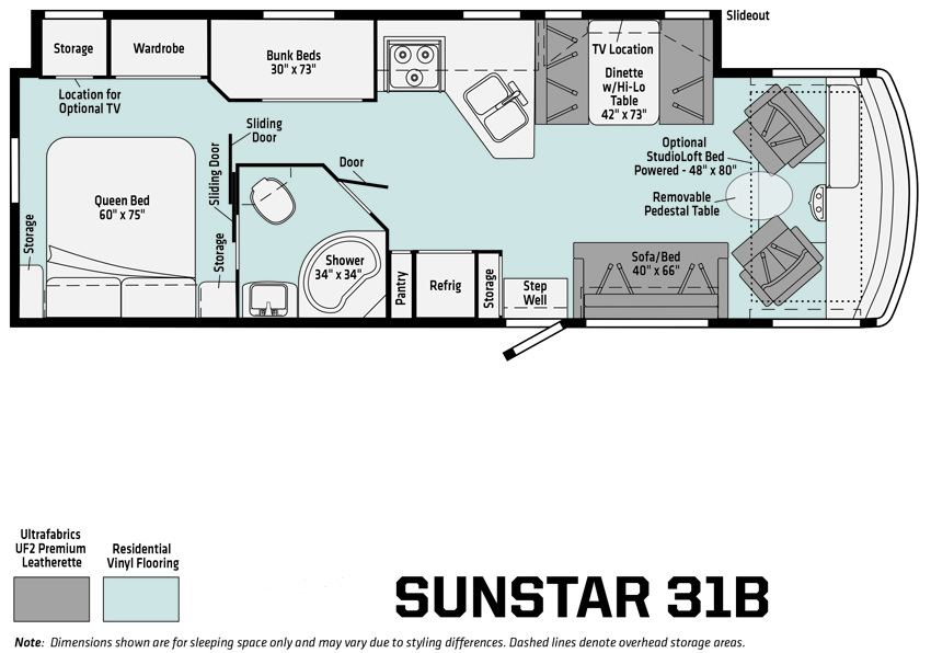 Winnebago Sunstar 31B Floorplan