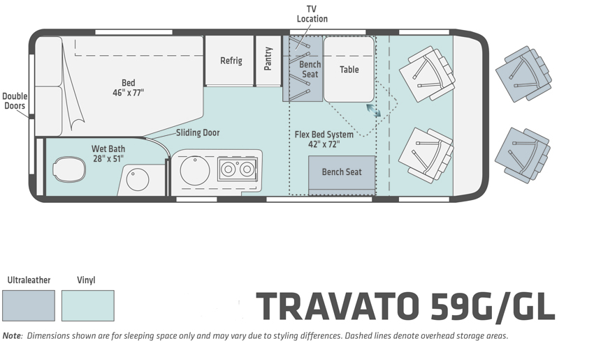 Winnebago Travato 59G  and Travato GL Floorplan