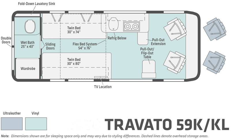 Winnebago Travato 59K and Travato KL Floorplan