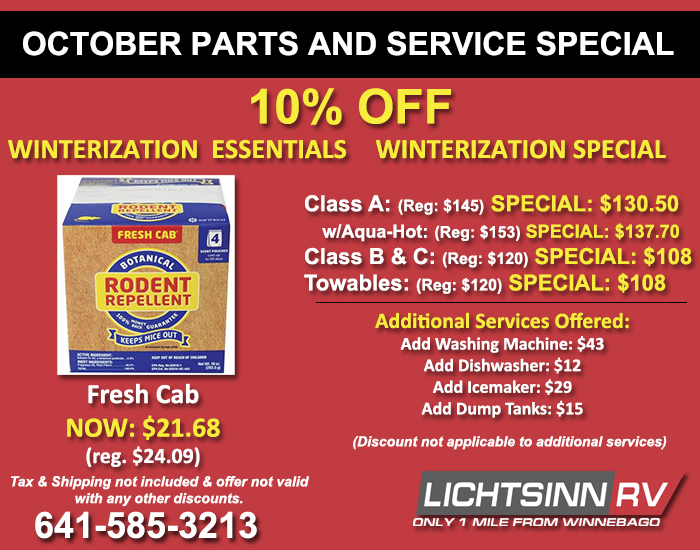 Fresh Cab Rodent Repellent 10% Off and 10% Off Winterization