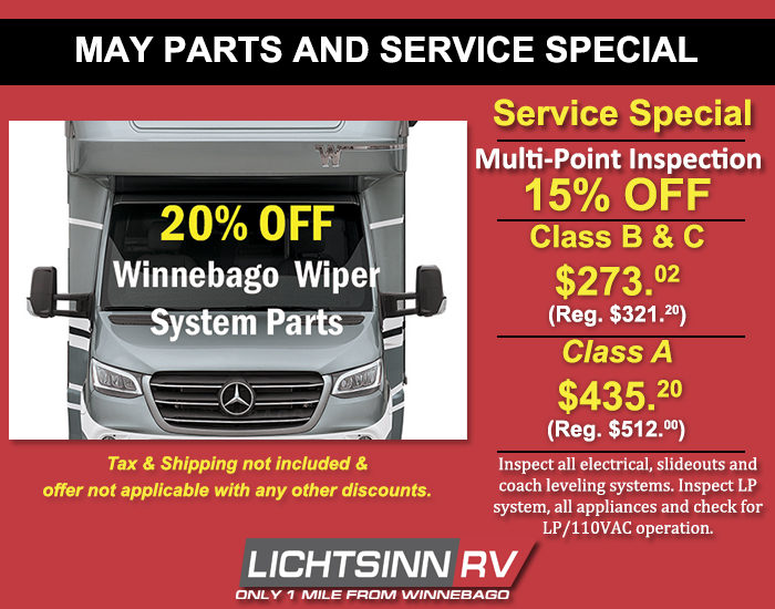 20% off Wiper System Parts and Feature Service Multi-Point Inspection