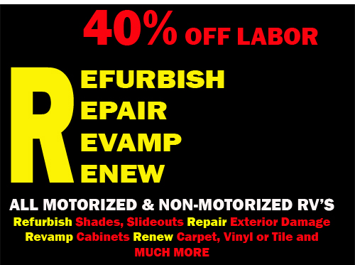 RV Refurbish, Repair, Revamp, Renew Service Special