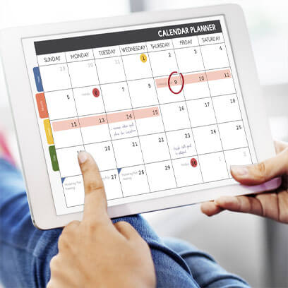 Tablet displaying a calendar planner