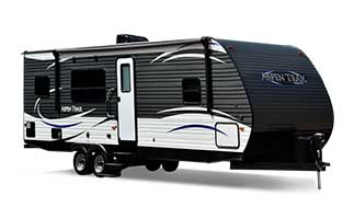 picture of the outside of a 2018 dutchmen aspen trail travel trailer with blue logo