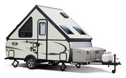 Viking Legend Hardside, picture of the exterior of a viking legend hardside travel trailer