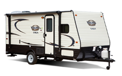 Viking Saga travel trailer, picture of the exterior of a Viking Saga travel trailer with a white background
