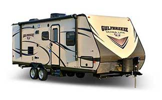 picture of the outside of a 2017 Gulf Stream gulf breeze ultralite travel trailer