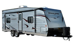 Gulf Stream track and trail, picture of the exterior of a gulf streamtrack and trail toy hauler