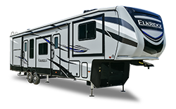heartland elkridge fifth wheels in rv showroom