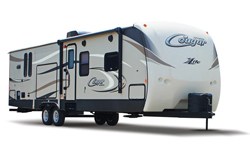 keystone cougar x-lite travel trailer, picture of the exterior of a keystone cougar x-lite travel trailer