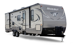 keystone hideout travel trailer, picture of the exterior of a keystone hideout travel trailer