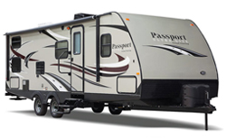 shop rvs by type lightweight travel trailers for sale, picture of a keystone passport lightweight travel trailer for sale