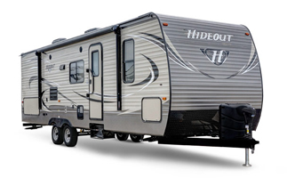 picture of the outside of a 2018 keystone hideout travel trailer