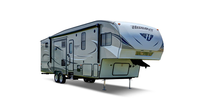 picture of a keystone hideout trailer that will be for sale at the ohio rv show, rv show, ohio rv show at the ix center in cleveland ohio
