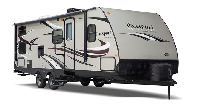 picture of a keystone passport trailer that will be for sale at the ohio rv show, rv show, ohio rv show at the ix center in cleveland ohio