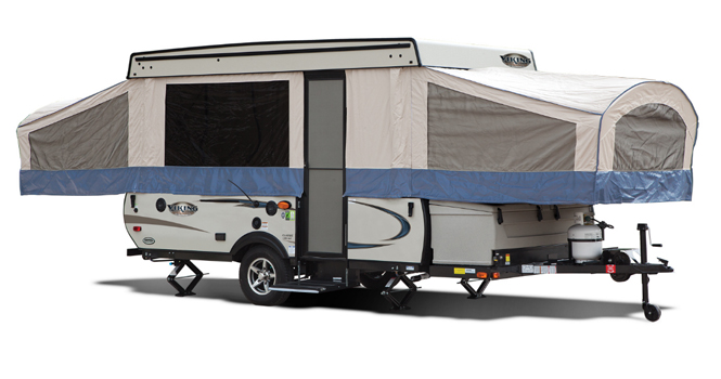 picture of a coachmen viking expandable travel trailer that will be for sale at the ohio rv show, rv show, ohio rv show at the ix center in cleveland ohio