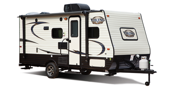 picture of a coachmen viking travel trailer that will be for sale at the ohio rv show, rv show, ohio rv show at the ix center in cleveland ohio