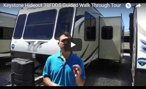 picture of screen shot for the keystone hideout 38fdds guided walk through rv video