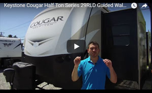 picture of chris with a rv guided walk through of the keystone cougar 29rld half ton