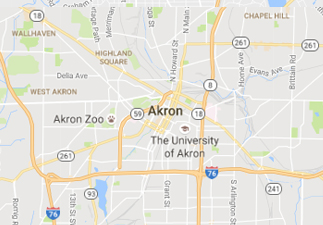 rvs for sale near Akron ohio, picture of Akron ohio on a map